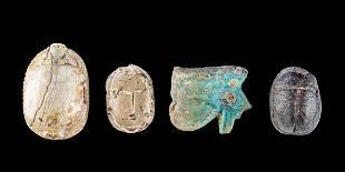 3 Egyptian Steatite Scarabs +1 Faience Wadjet Pendant