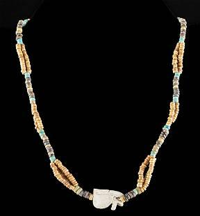 Egyptian Faience Bead Necklace w/ Eye of Horus