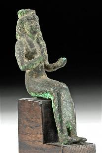 Egyptian 25th Dynasty Gilt Bronze Seated Isis
