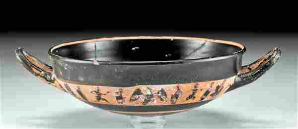 Greek Attic Pottery Kylix w/ Figural Scene