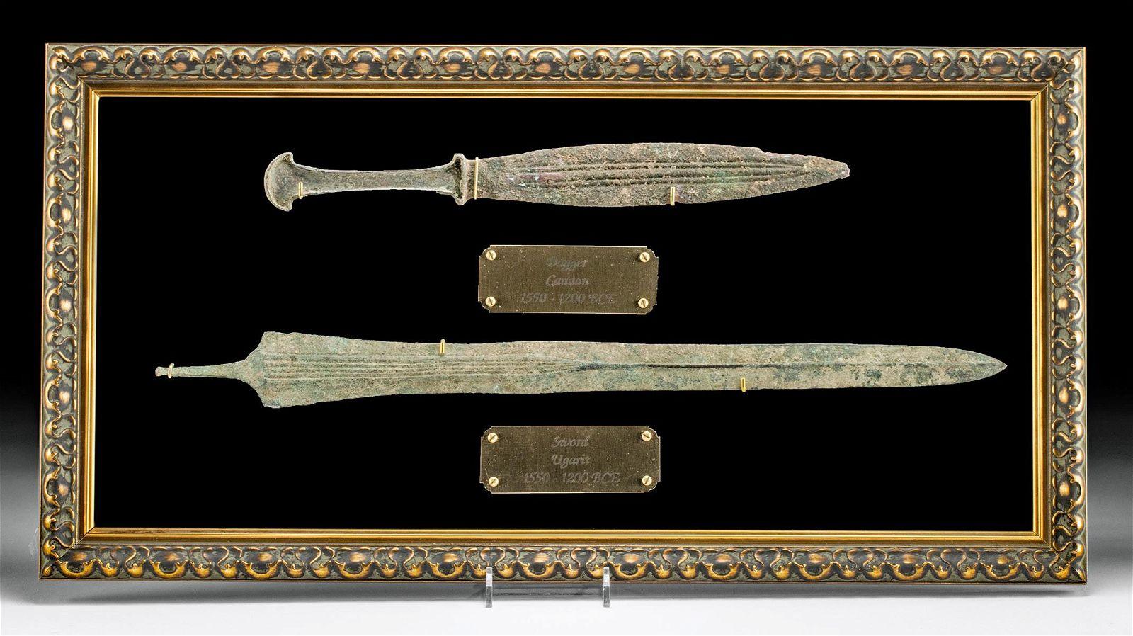 Framed Canaanite Bronze Dagger & Ugarit Bronze Sword