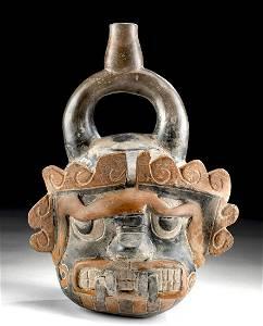 Chavin Pottery Staff God Stirrup Vessel w/ TL