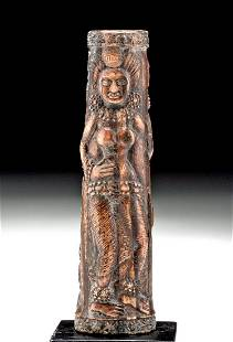 Indian Petrified Bone Mirror Handle - Dancers, Dwarf