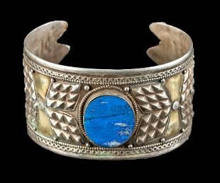 19th C. Turkoman Gilt Silver & Lapis Bracelet