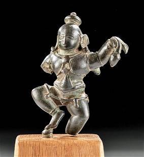 16th C. Indian Bronze Statuette Dancing Krishna