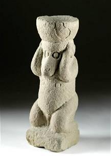 12th C. Majapahit Stone Hanuman Figure Monkey-Form