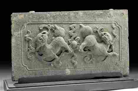 Massive Chinese Ming Dynasty Stone Panel w/ Foo Dogs