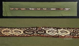 Paracas Textile Polychrome Sash w/ Eye Mask Motif