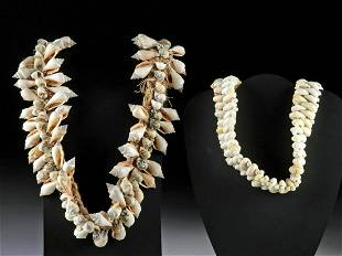 Early 20th C. Tahitian Shell Belt + Crown