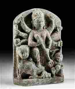 14th C. Nepalese Stone Relief - Hindu Goddess Durga