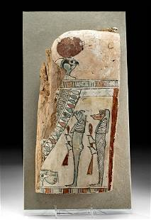 Egyptian Cedar & Painted Gesso Sarcophagus Lid Fragment