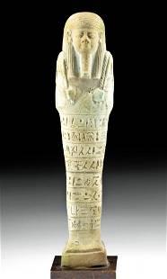 Translated Egyptian Glazed Faience Ushabti for Psamtek