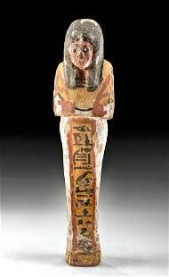 Egyptian New Kingdom Painted Wood Ushabti for An-hotep