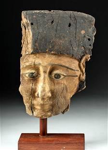 Large Egyptian Late Dynastic Cedar Sarcophagus Mask