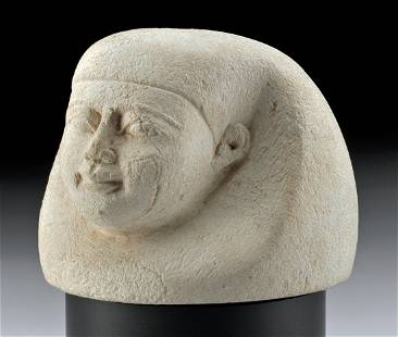 Egyptian Limestone Canopic Jar Lid - Imsety