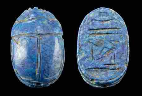Rare Translated Egyptian Lapis Lazuli Scarab