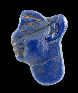 Egyptian Sebennytic-Ptolemaic Glass Profile Face Inlay