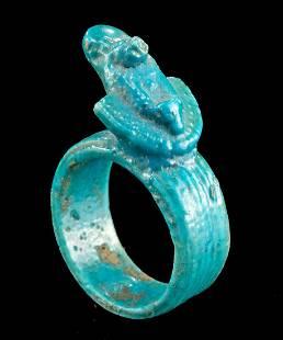 Egyptian Faience Ring w/ Aegis, ex-Royal Athena