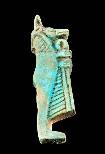 Egyptian Glazed Faience Duamutef Pendant w/ Linen Roll
