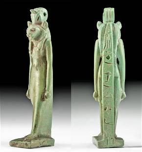 Egyptian Faience Pendant of Bastet w/ Hieroglyphs