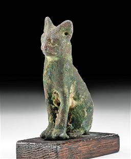 Egyptian Bronze Seated Figure of a Cat