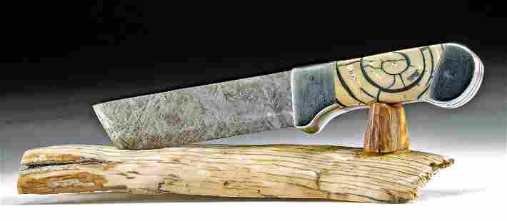 Custom Knife w/ Meteorite Blade & Mammoth Tusk Handle