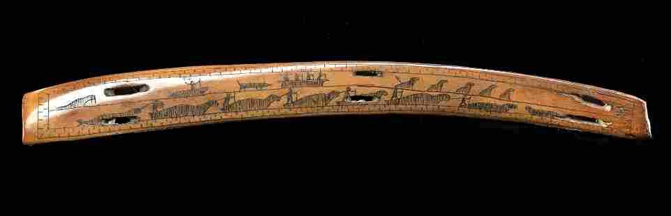 19th C. Inuit Scrimshawed Walrus Ivory w/ Hunting Scene
