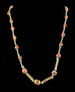 Egyptian Gold, Faience, & Carnelian Bead Necklace