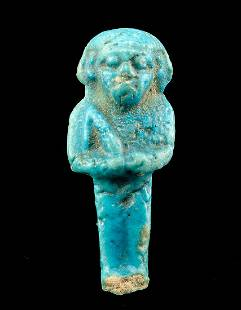 Egyptian Late Dynastic Faience Mummy Wrapping Amulet