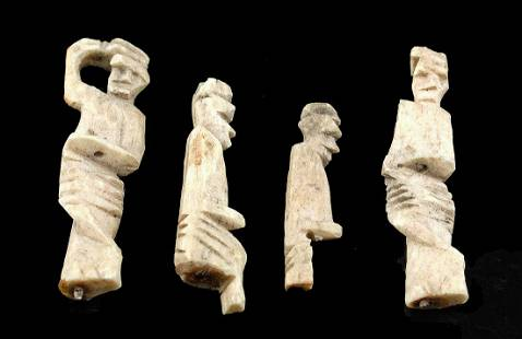 4 Miniature Roman Bone Figures - 2 Standing & 2 Seated