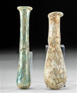 Pair of Roman Glass Unguentaria w/ Stunning Iridescence