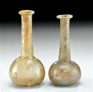 2 Roman Glass Unguentaria w/ Nice Iridescence