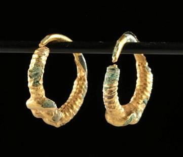 Pair of Roman Gilded Copper Earrings w/ Hercules Knots