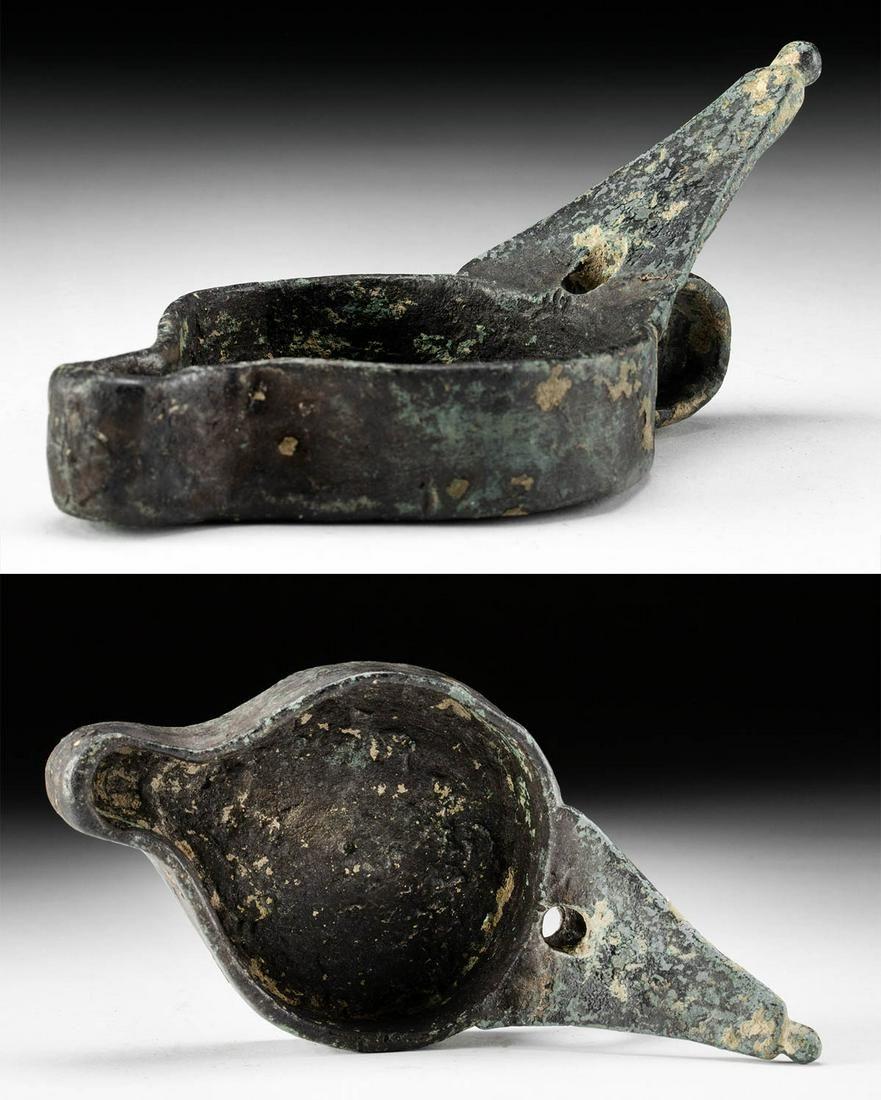 Roman Leaded Bronze Oil Lamp