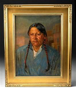 Charles W. Thwaites Native American Portrait Painting