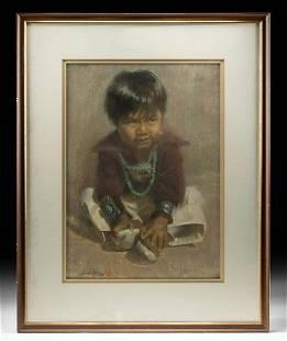 "Signed Julian Robles Pastel - ""Navajo Boy"" ca. 1978"