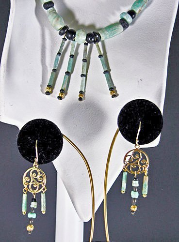 75: An Egyptian Amazonite Necklace & Earring Set