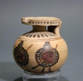 A Greek Corinthian Pottery Aryballos
