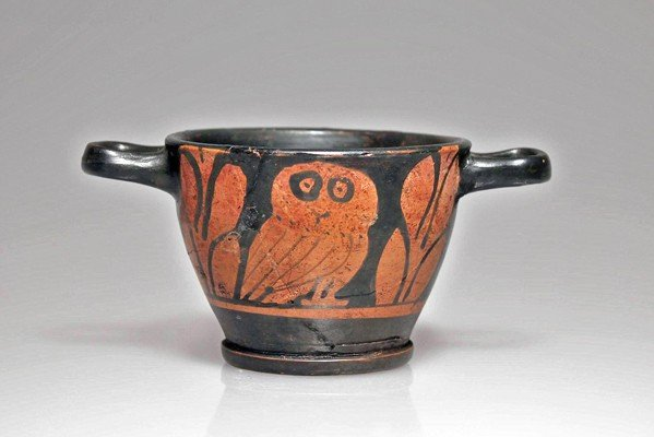 102: A South Italian Red-Figure Owl Skyphos