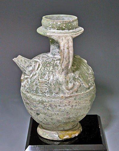 136: A Rare Roman Green-Glazed Askos