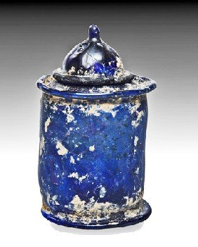 A Roman Glass Pyxis And Cover