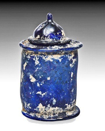 144: A Roman Glass Pyxis and Cover