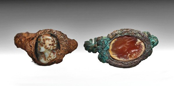 163: Two Roman Bronze Intaglio Rings