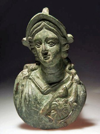 174: A Bronze Chariot Fitting with Minerva Bust