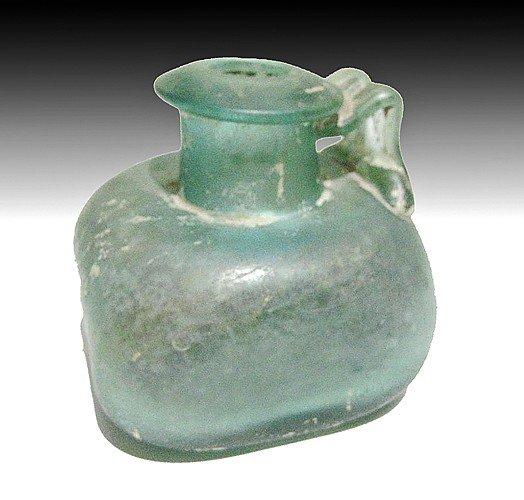 181: A Roman Glass Square Juglet