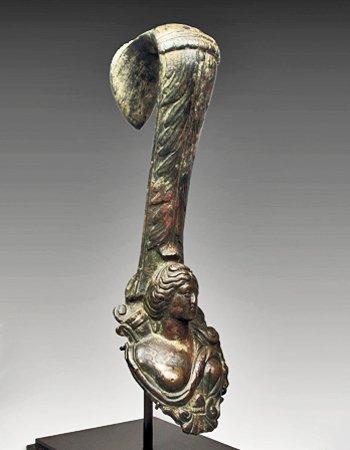 136B: A Roman Bronze Amphora Handle of Diana