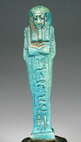 13: An Egyptian Turquoise-Blue Shabti