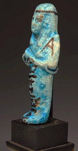 21: An Egyptian Glazed Faience Ushabti for Nes-nakht - 3