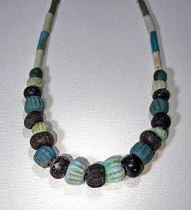 25: An Egyptian Faience Melon Bead Necklace