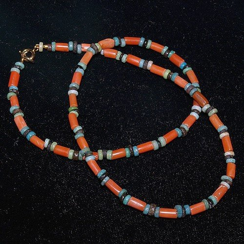 26: An Egyptian Coral and Faience Bead Necklace